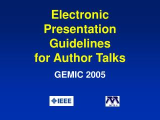 Electronic Presentation Guidelines for Author Talks