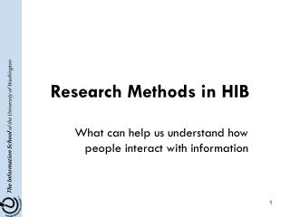 Research Methods in HIB