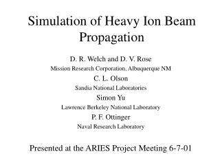 Simulation of Heavy Ion Beam Propagation