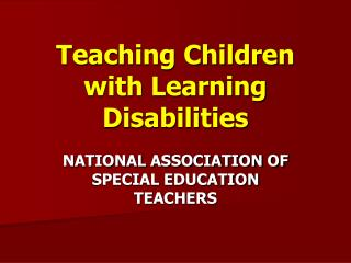 Teaching Children with Learning Disabilities