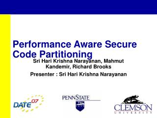 Performance Aware Secure Code Partitioning