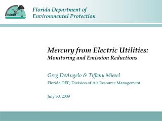 Mercury from Electric Utilities:  Monitoring and Emission Reductions