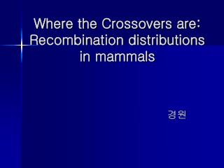 Where the Crossovers are: Recombination distributions in mammals