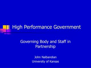 High Performance Government