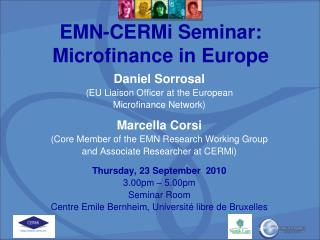 EMN-CERMi Seminar: Microfinance in Europe