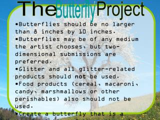 Butterflies should be no larger than 8 inches by 10 inches.