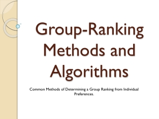 1.2 Group-ranking methods and algorithms