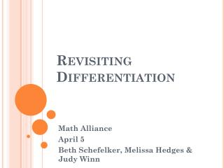 Revisiting Differentiation