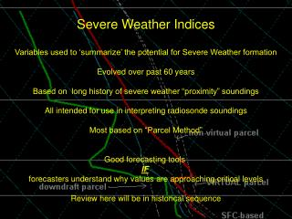 Severe Weather Indices Variables used to 'summarize' the potential for Severe Weather formation