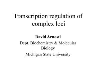 Transcription regulation of      complex loci