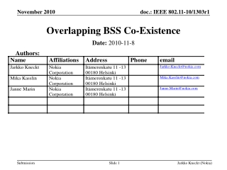 Overlapping BSS Co-Existence