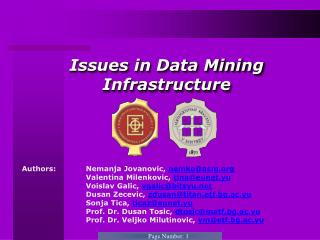 Issues in Data Mining Infrastructure