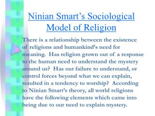 Ninian Smart's Sociological Model of Religion