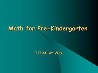 Math for Pre-Kindergarten
