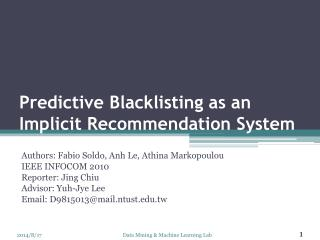 Predictive Blacklisting as an Implicit Recommendation System