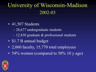 University of Wisconsin-Madison 2002-03