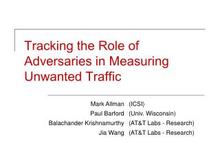 Tracking the Role of Adversaries in Measuring Unwanted Traffic