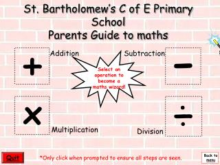 St. Bartholomew's C of E Primary School Parents Guide to maths