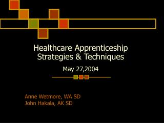 Healthcare Apprenticeship Strategies & Techniques May 27,2004