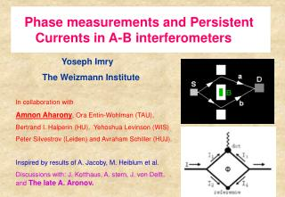 Phase measurements and Persistent       Currents in A-B interferometers
