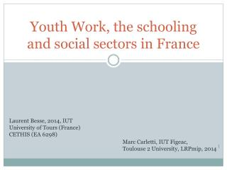 Youth Work, the schooling and social sectors in France
