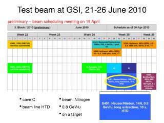 Test beam at GSI, 21-26 June 2010