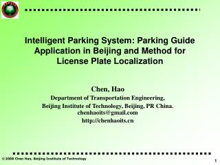 Chen, Hao Department of Transportation Engineering,