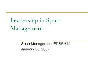 Leadership in Sport Management