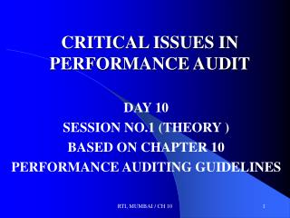CRITICAL ISSUES IN PERFORMANCE AUDIT