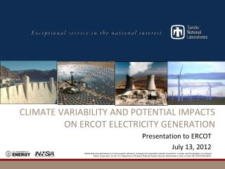 CLIMATE  Variability and Potential Impacts on ERCOT Electricity Generation