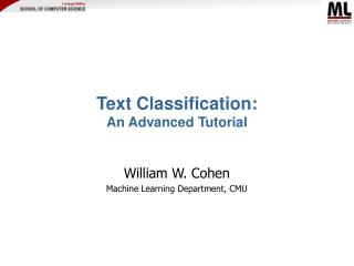 Text Classification:  An Advanced Tutorial