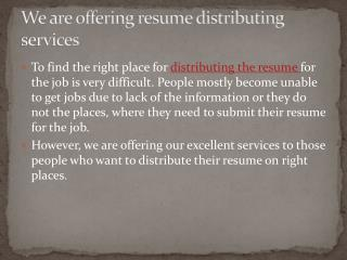 Resume Distribution Services