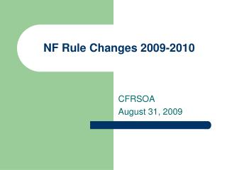 NF Rule Changes 2009-2010