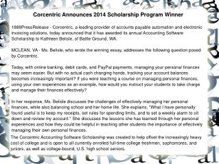 Corcentric Announces 2014 Scholarship Program Winner