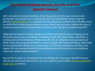 The Future of Cloud Identity Security and SSO: OpenID Conne
