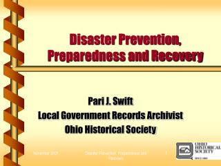 Disaster Prevention, Preparedness and Recovery
