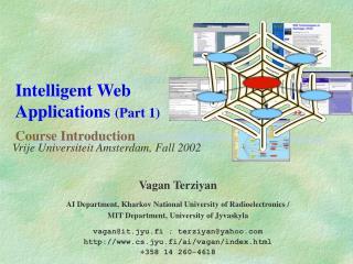 Intelligent Web Applications (Part 1) Course Introduction