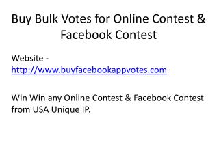 Buy Bulk Votes for Online Contest & Facebook Contest