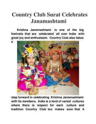 Country Club Surat Celebrates Janamashtami