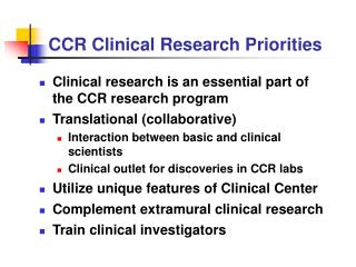 CCR Clinical Research Priorities