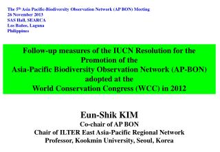 Follow-up measures of the IUCN Resolution for the Promotion of the