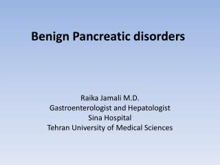 Benign Pancreatic disorders