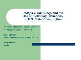 Phillips v. AWH Corp.  and the Use of Dictionary Definitions  in U.S. Claim Construction