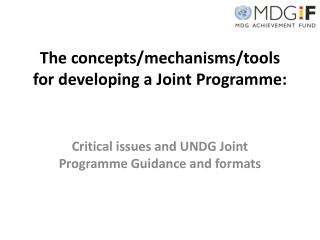 The concepts/mechanisms/tools for developing a Joint  Programme :