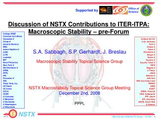 Discussion of NSTX Contributions to ITER-ITPA: Macroscopic Stability – pre-Forum