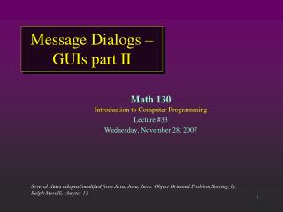 Message Dialogs – GUIs part II