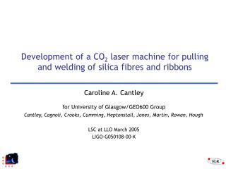 Development of a CO2 laser machine for pulling and welding of silica fibres and ribbons