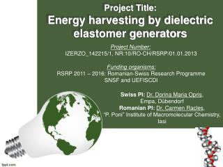 Project Title: Energy harvesting by dielectric elastomer generators