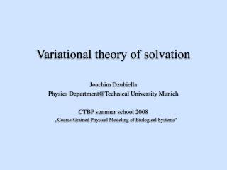 Variational theory of solvation