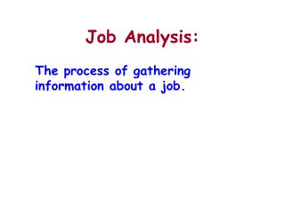 Job Analysis:
